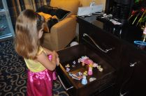 Natalie was so excited to bring her favorite toys along with her to the hotel.